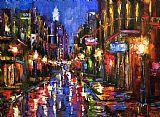 新奥尔良波旁街夜景现代风格装饰画