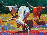 三得克萨斯长角牛装饰画