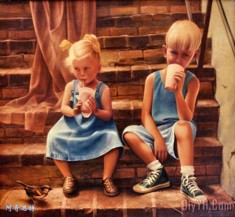 炎热的夏天装饰画_风景_人物_肖像画_儿童_孩子_人民