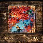 秋季蓝鸟装饰画