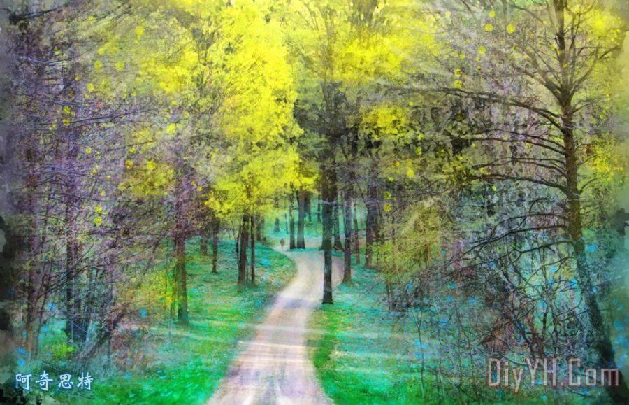 春雨装饰画_风景_密歇根州的风景_春天的树林_春天_的