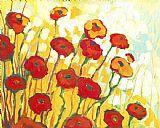 金色簇拥着红花装饰画