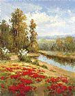 田园景色罂粟花装饰画
