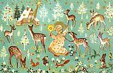 天使与森林里的动物装饰画