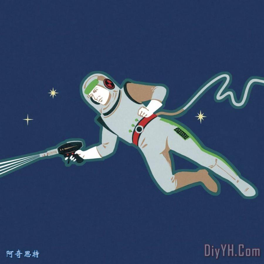 宇航员在太空装饰画 宇航员在太空油画定制 阿奇思特