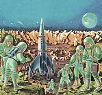 宇航员和宇宙飞船装饰画