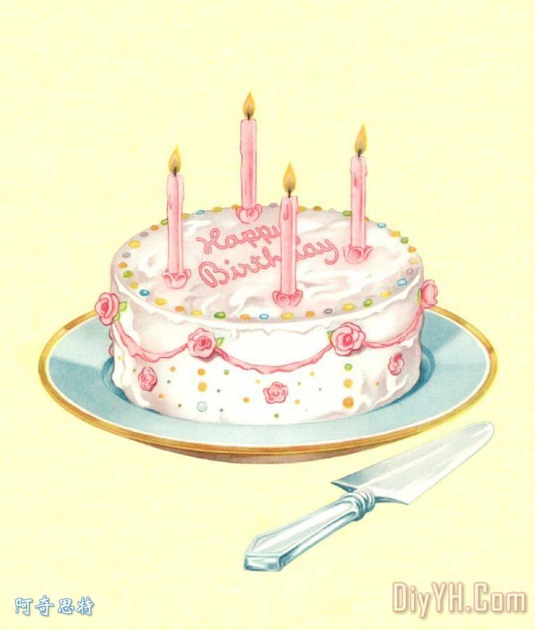 生日蛋糕蜡烛装饰画 生日蛋糕蜡烛油画定制 阿奇思特