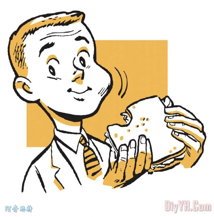 男孩西装吃三明治