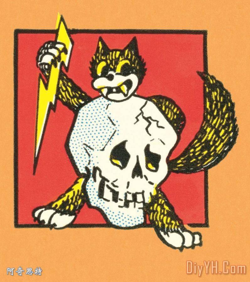 猫与骷髅装饰画_动物_猫与骷髅油画定制