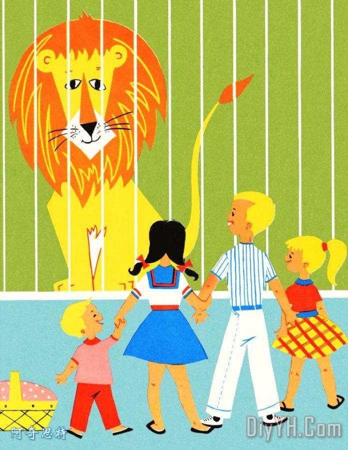 在动物园儿童 - 在动物园儿童装饰画
