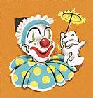 小丑控股微小的伞装饰画