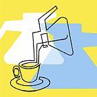 咖啡壶咖啡和杯子装饰画