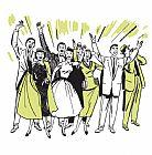 人与空气中的手微笑的人群装饰画