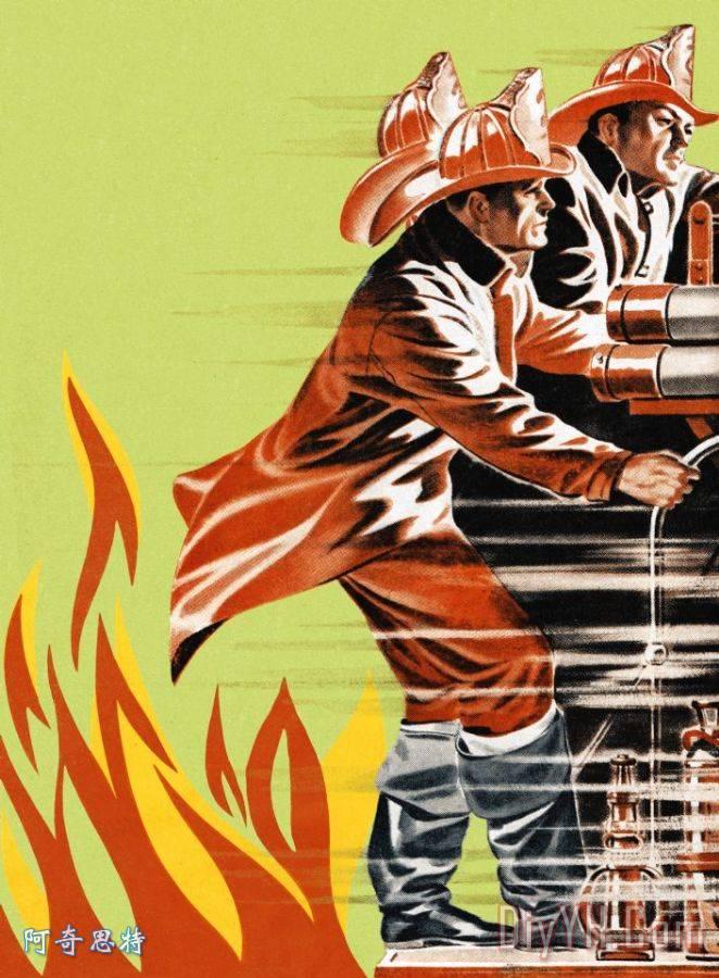 画消防车救火-消防员救火车上装饰画 消防员救火车上油画定制 阿奇思特