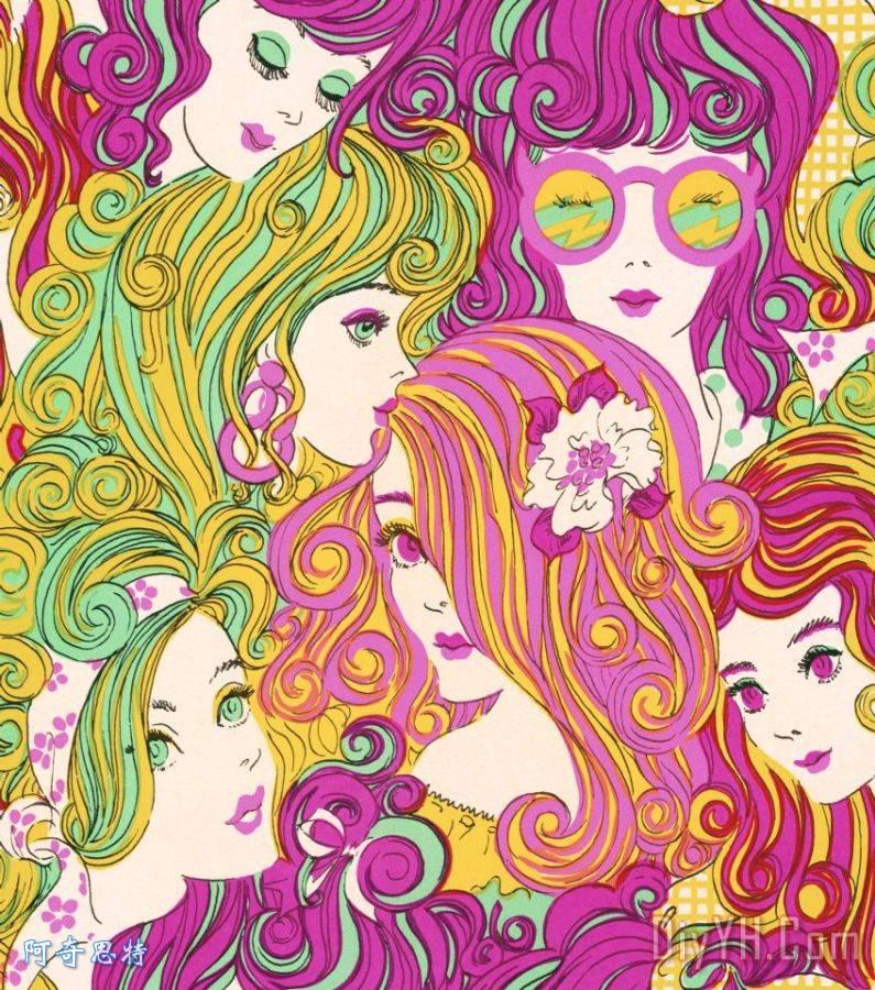 groovy的女孩与彩色头发装饰画