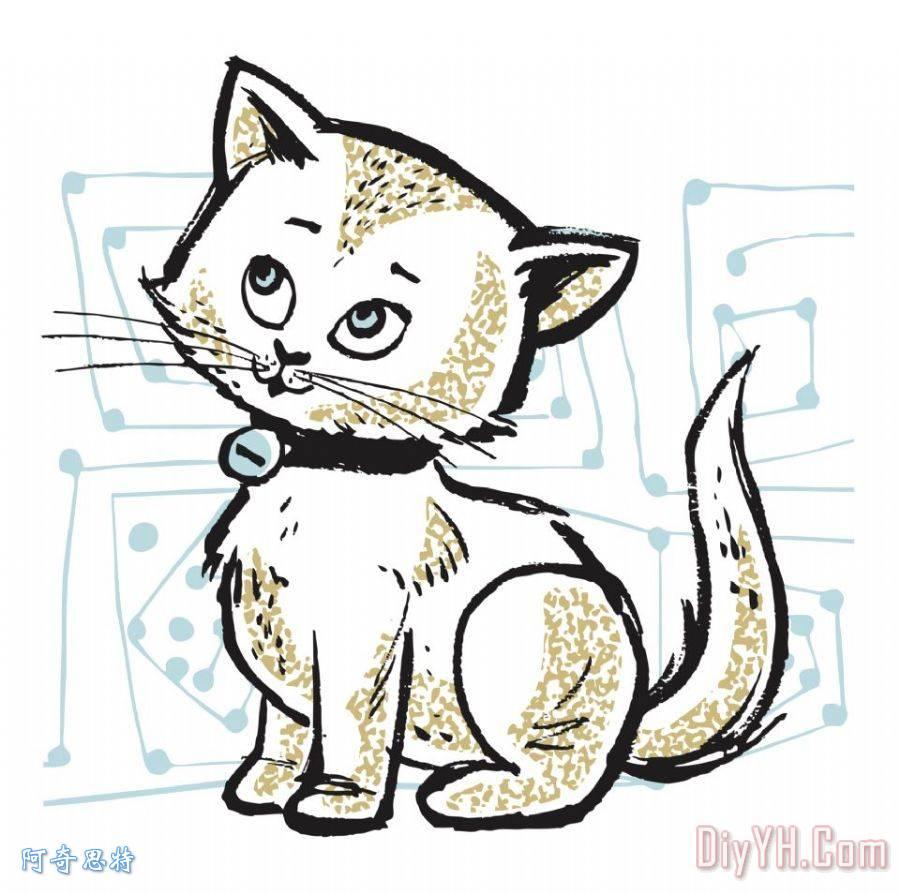 kitty猫装饰画_动物_kitty猫油画定制