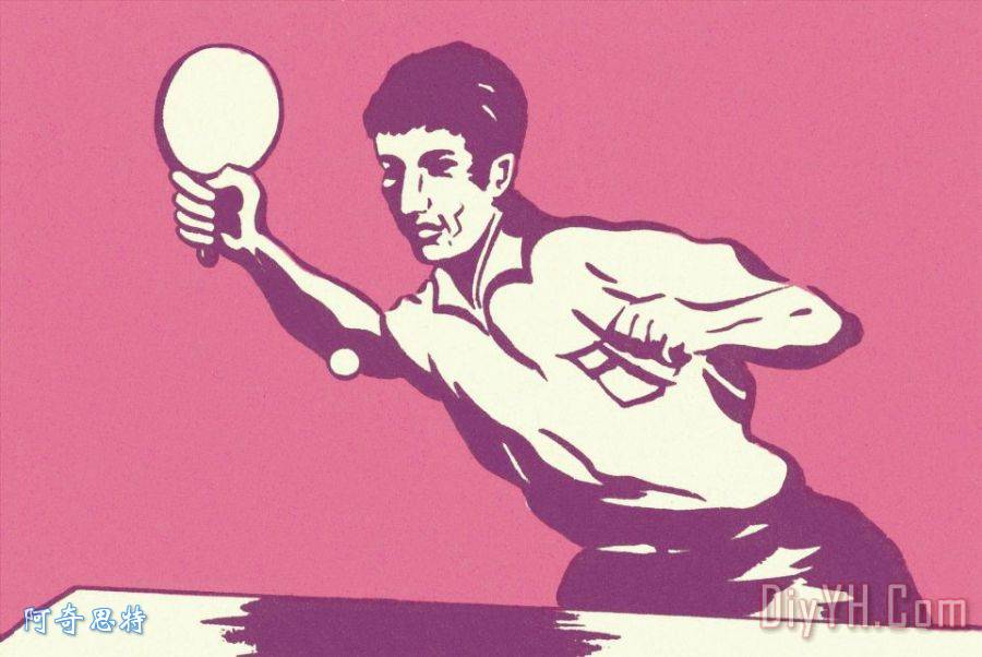 男子打乒乓球装饰画_人物