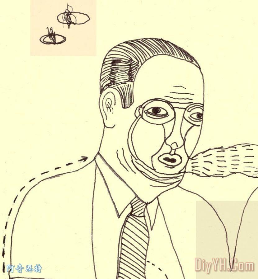 微胖中年男人头像简笔画