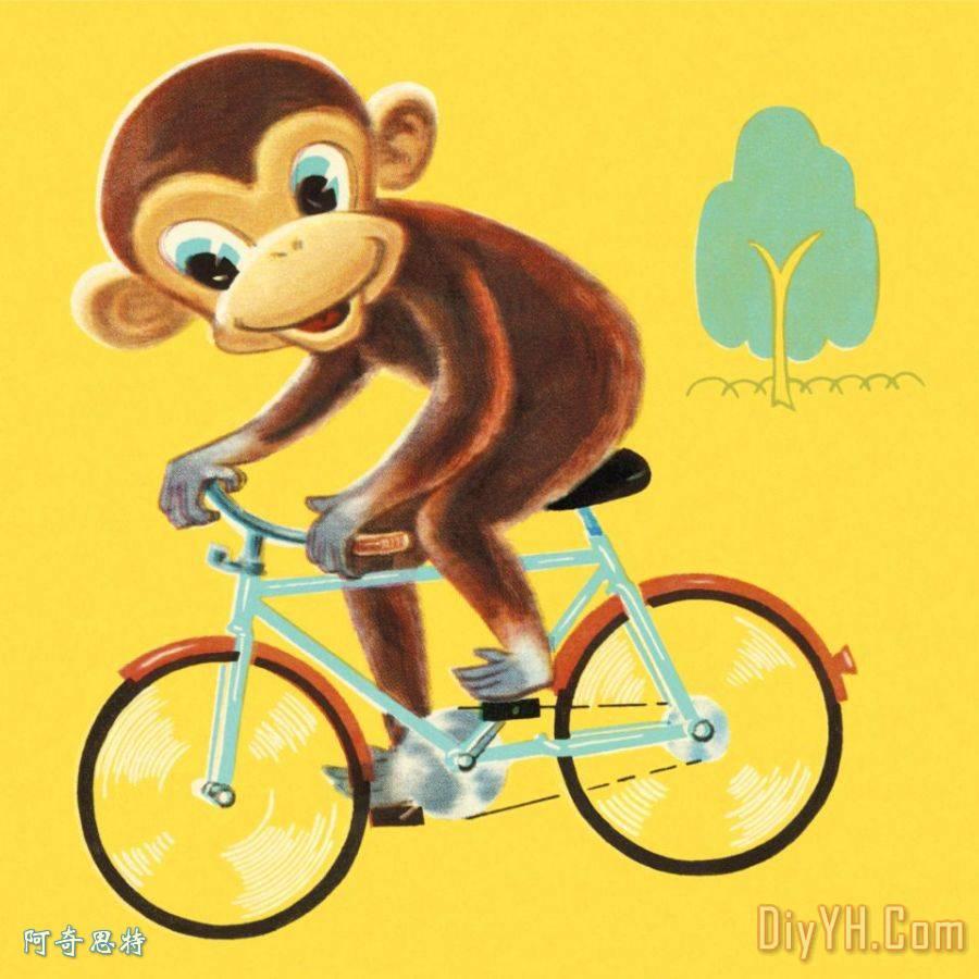 猴子骑自行车装饰画 猴子骑自行车油画定制 阿奇思特图片