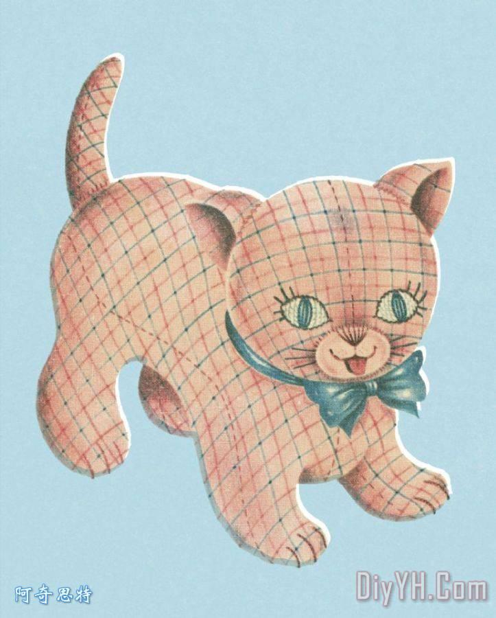 格子猫装饰画_动物_格子猫油画定制