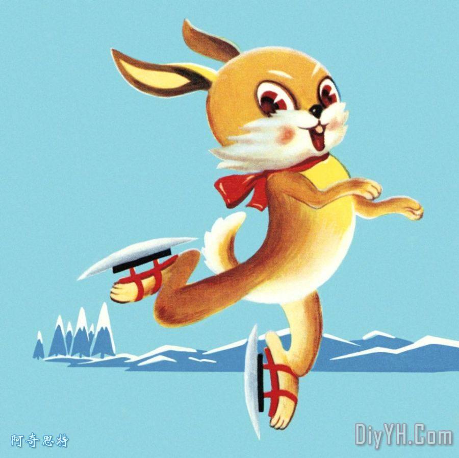 兔滑冰装饰画_动物_兔滑冰油画定制