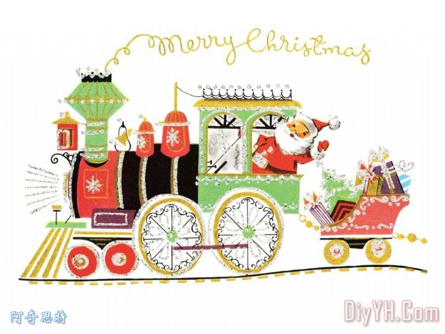 圣诞老人在火车 - 圣诞老人在火车装饰画