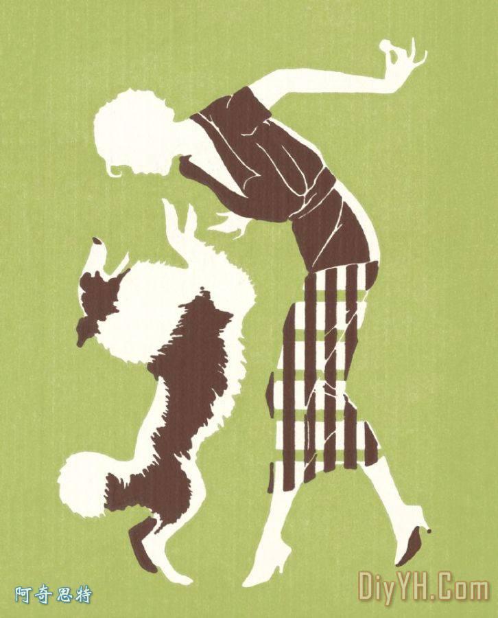 女人的剪影与狗 - 女人的剪影与狗装饰画图片