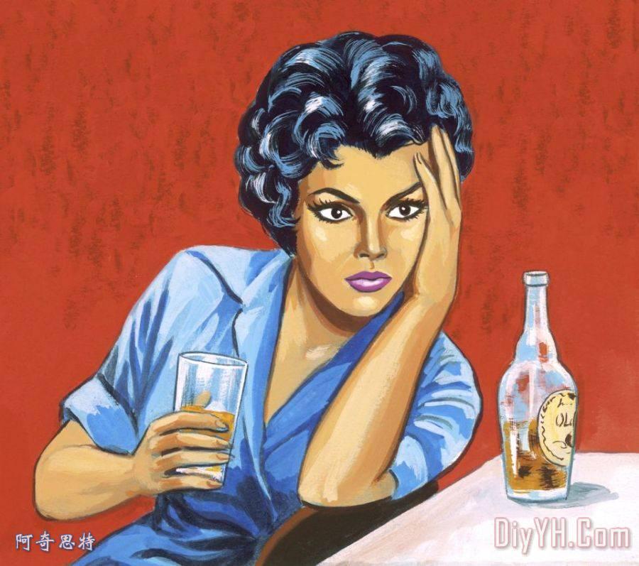 女人喝酒装饰画_人物_女人喝酒油画定制