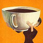 - 女人拿着咖啡的杯巨大