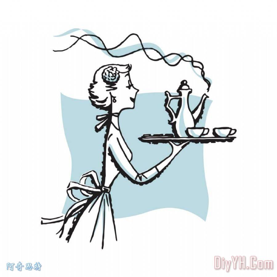 女子持茶服务纸盘装饰画_人物