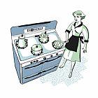 女人在厨房烹调的炉灶装饰画