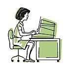 妇女工作在台装饰画