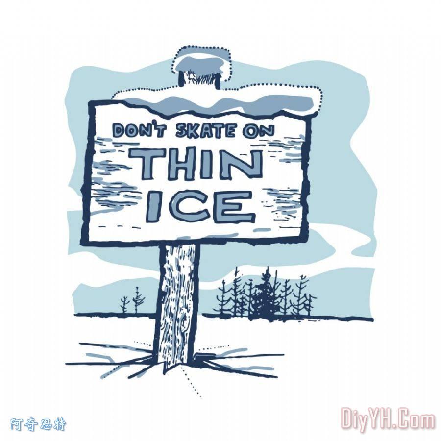 在溜冰场的木牌子,上面写着不要吨滑板上的薄冰