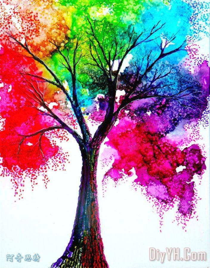 彩虹树装饰画