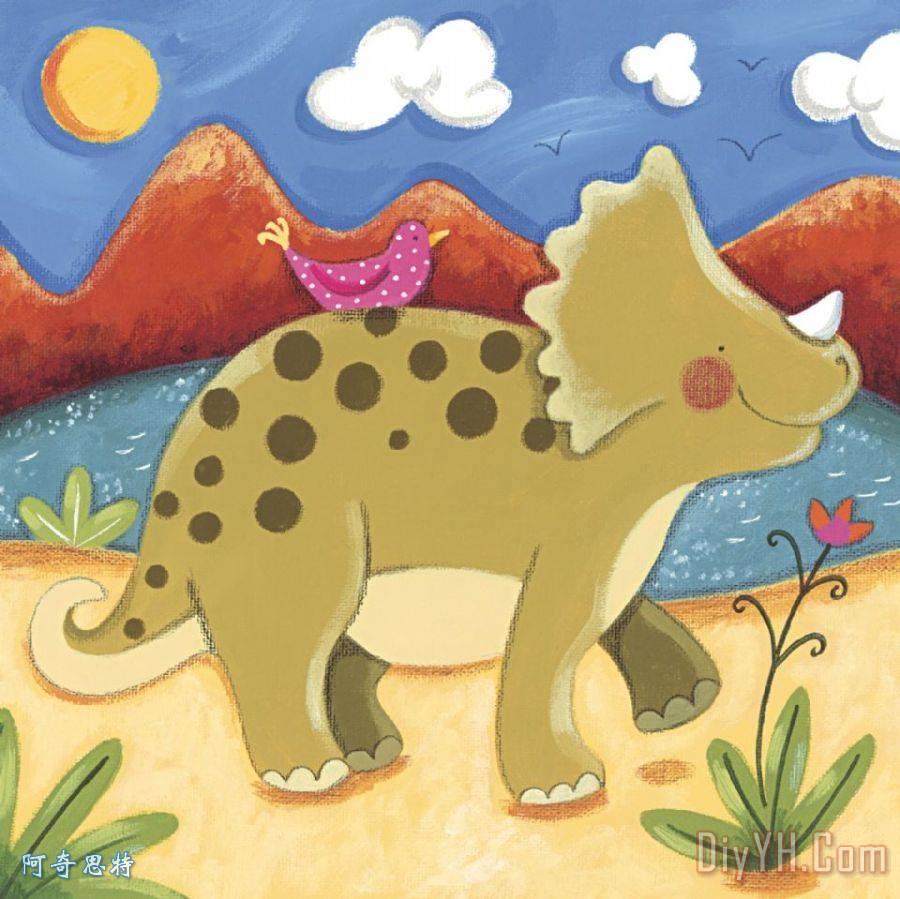 婴儿蒂米的三角龙装饰画_人物_儿童_婴儿蒂米的三角龙