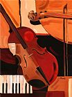 抽象小提琴音乐油画