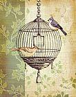植物与鸟笼装饰画