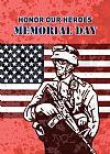 美国军人士兵与国旗装饰画