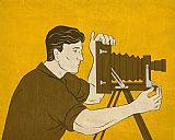 - 摄像师老式相机拍摄的侧视图