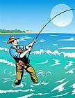 渔夫冲浪铸造装饰画