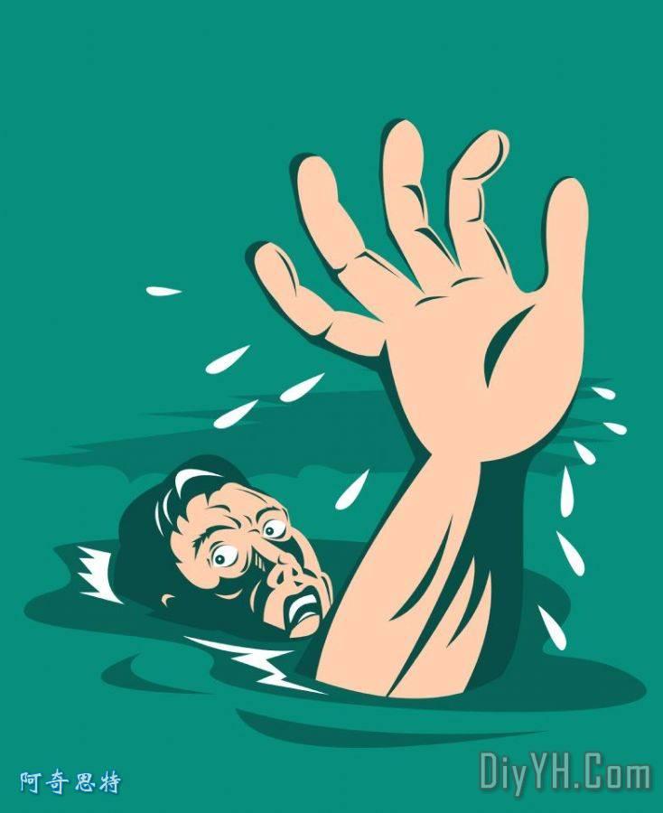 男子达成帮助溺水装饰画 人物 流行的 波普艺术 男子达成帮助溺水油画