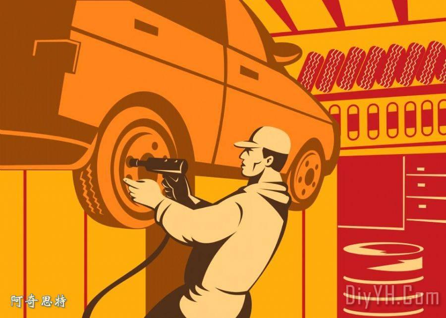 修理工汽车修理工复古高清图片