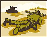 - 士兵瞄准火箭筒