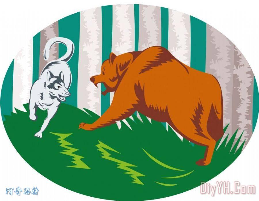野生狗狼战斗灰熊装饰画_动物_流行的_波普艺术_野生图片