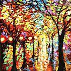 雨夜油画 - 在雨中灯装饰画