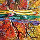 秋季思考办公室油画