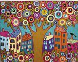 盛开的树屋鲜花和鸟装饰画