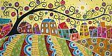 十一个房子和一个漩涡树装饰画