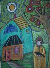 女孩和鸟装饰画
