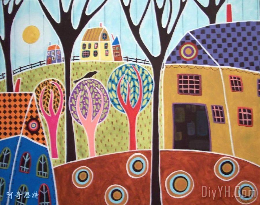 房子谷仓和树 - 房子谷仓和树装饰画